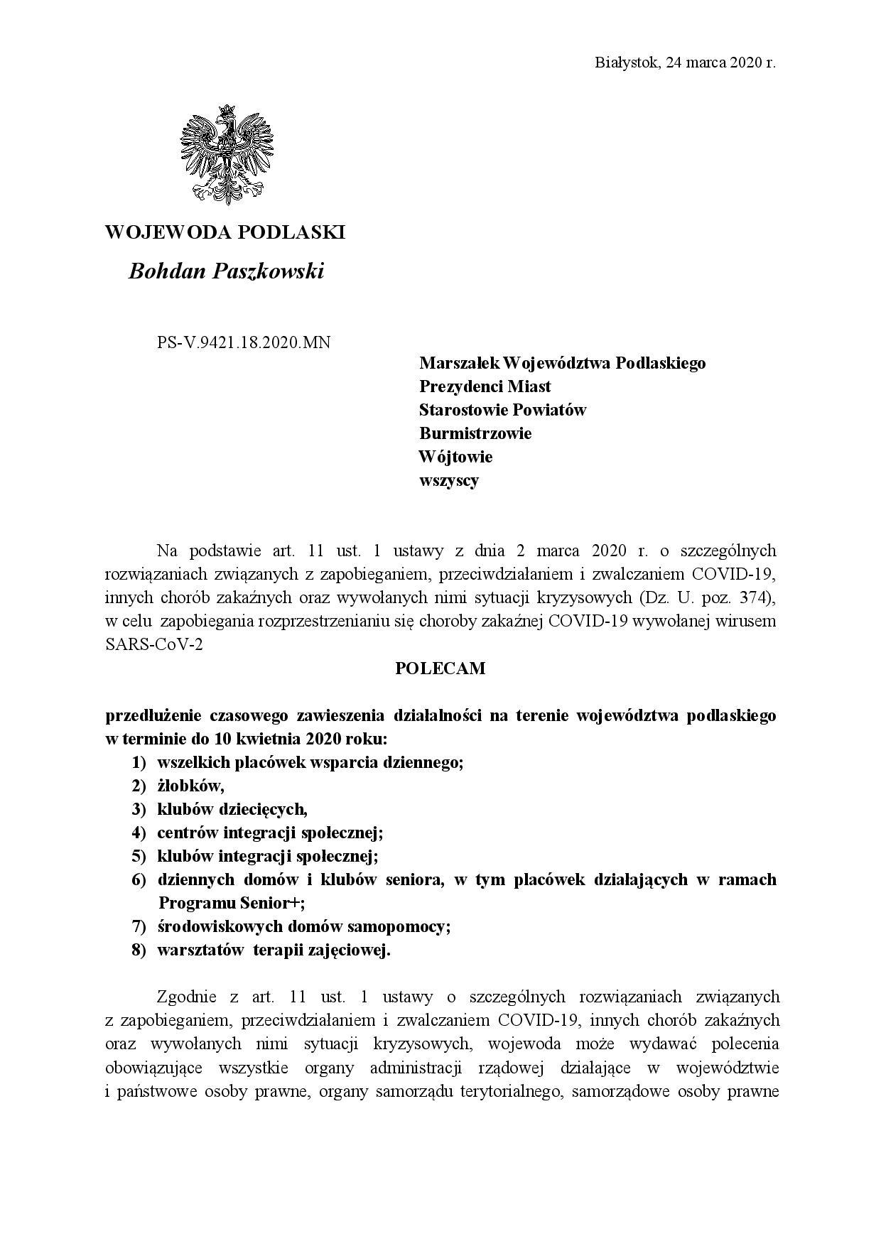 Polecenie Wojewody Podlaskiego z-24.03.2020-page-001
