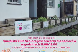 Klub Seniora otwarty dla seniorów z zastosowaniem Procedury Bezpieczeństwa
