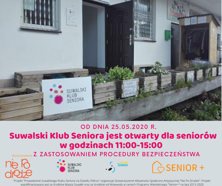 Suwalski Klub Seniora jest otwarty dla seniorów w godzinach 11_00-15_00 z zastosowaniem _Procedury Bezpieczeństwa (1)