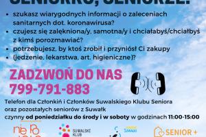 Suwalski Klub Seniora zamknięty dla seniorów w dniach 13- 27.11.2020 r.